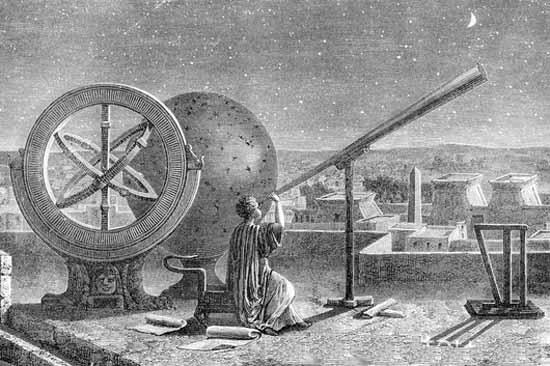 Ancient astronomer and astrologer observe the night sky in Alexandria