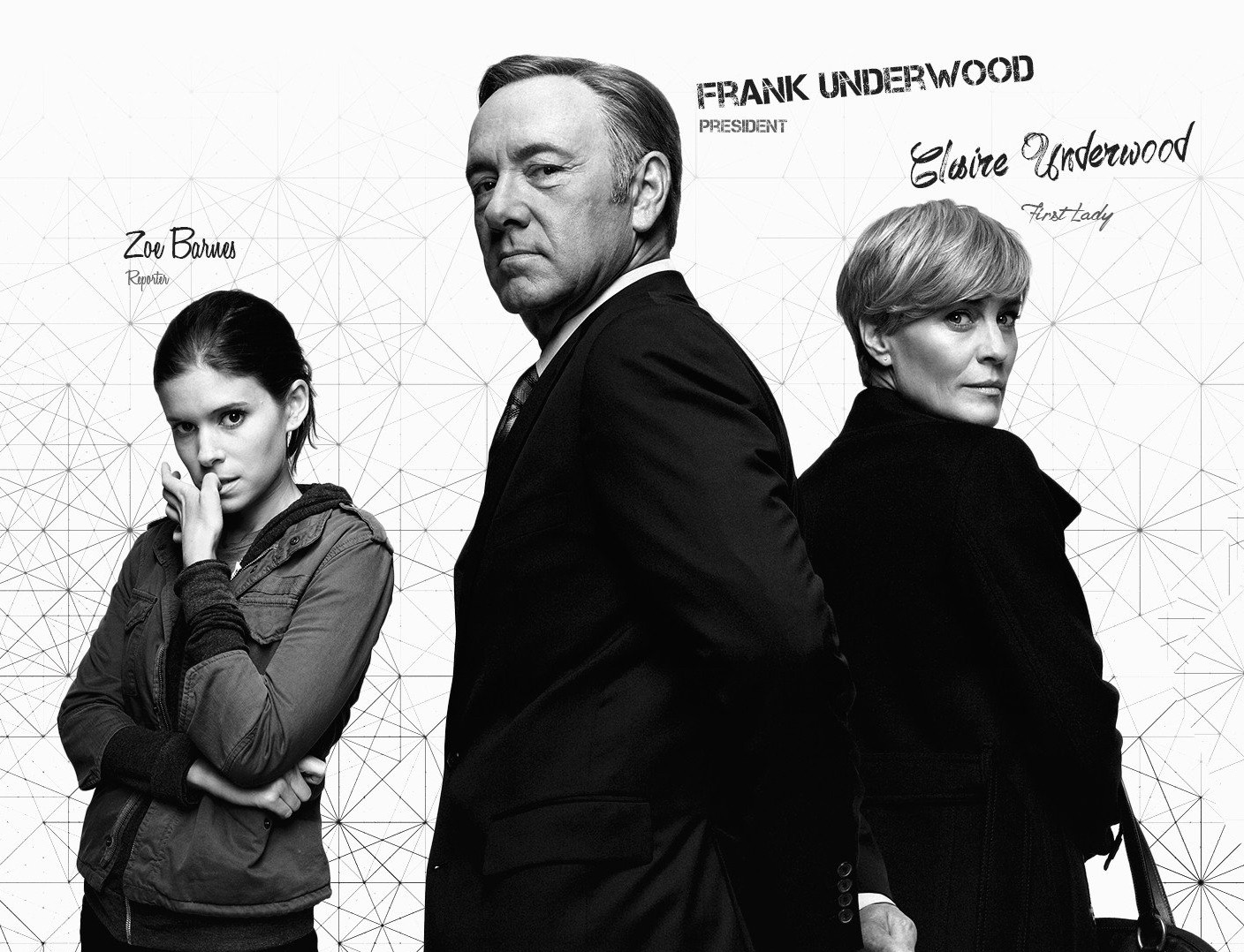 House of Cards, Frank Underwood, Zoe Barnes, Claire Underwood