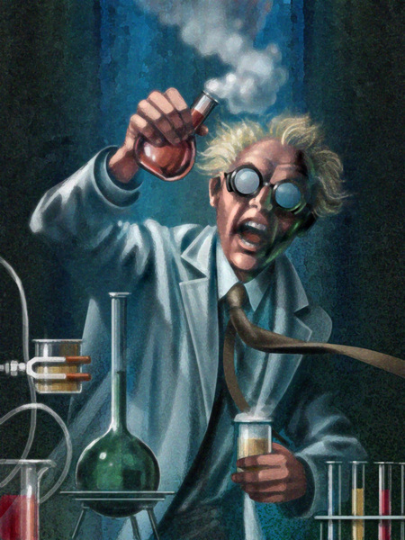 Mad scientist in the lab