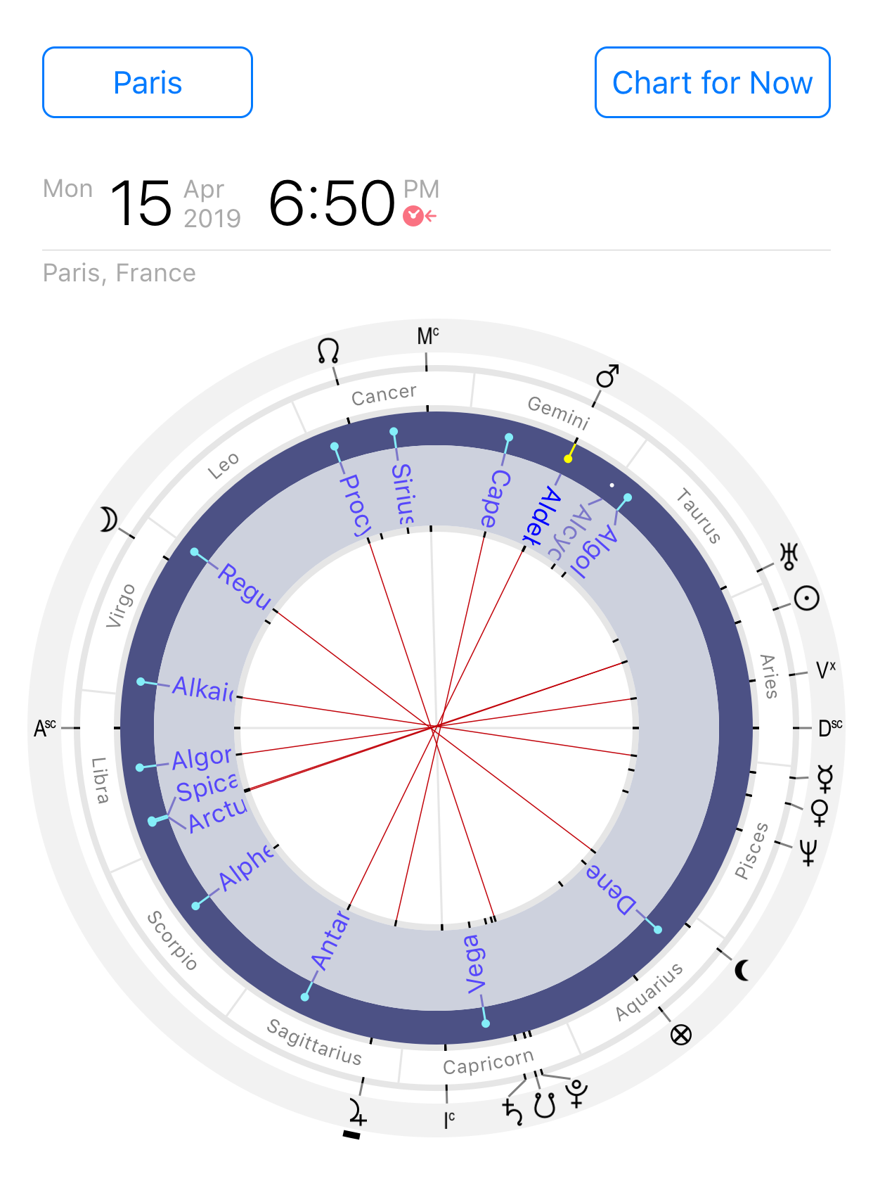 Astrological chart of the fixed stars aspects for Notre-Dame Cathedral fire of 15 April 2019, 18:50