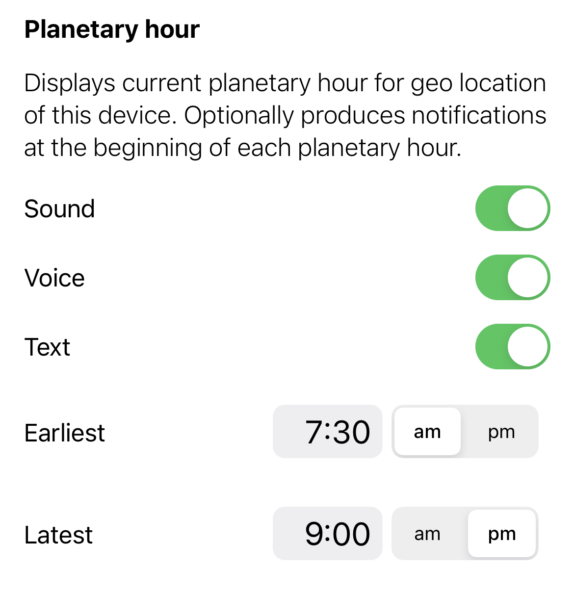 Planetary hour widget configuration of notifications and alarm