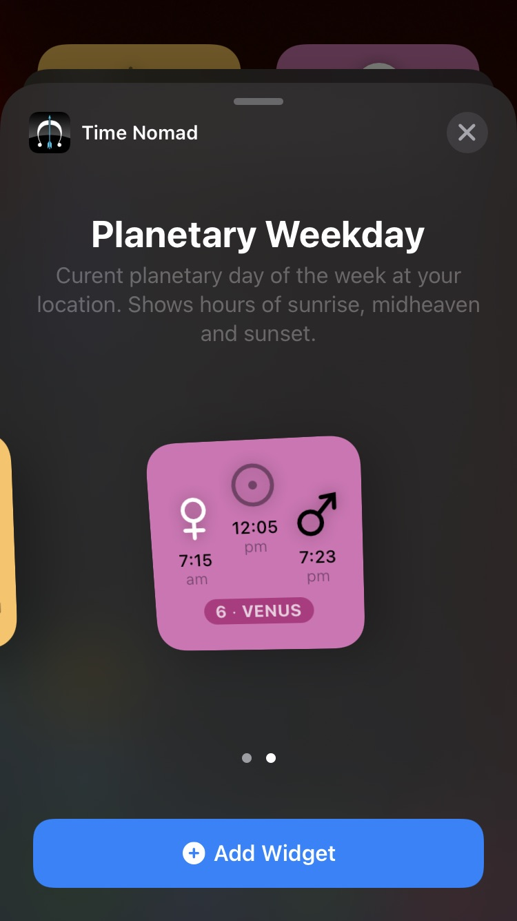 Adding Planetary Day widget to home screen