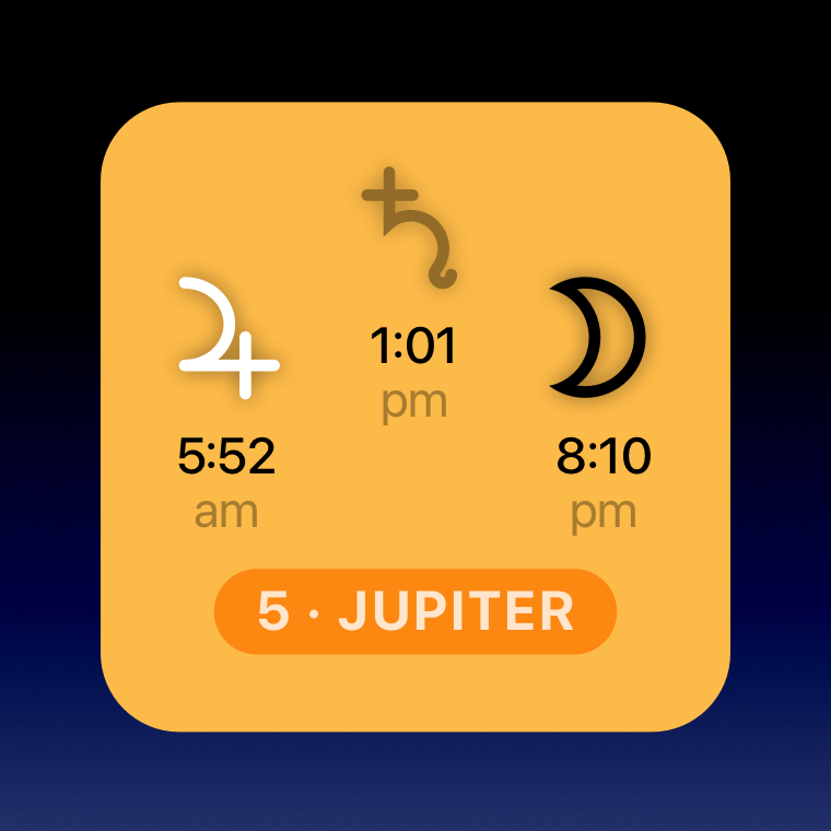 Planetary hour widget showing the day of Jupiter