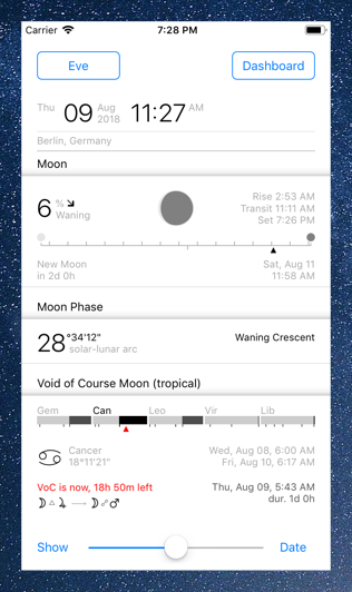 Time Nomad astrological and astronomical dashboard