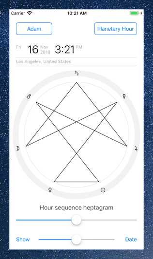 Time Nomad planetary hour calculator heptagram ordered by hours