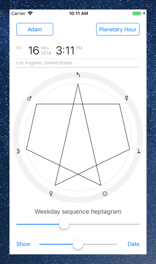 Time Nomad planetary hour calculator heptagram ordered by weekdays