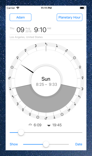 Time Nomad planetary hour calculator watch face