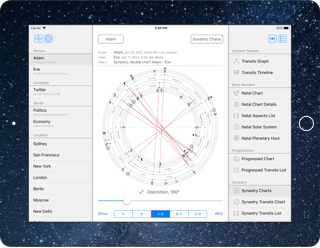 Time Nomad astrology app screen layout