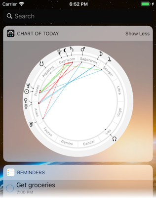 Time Nomad iOS notification center astrological chart of today widget
