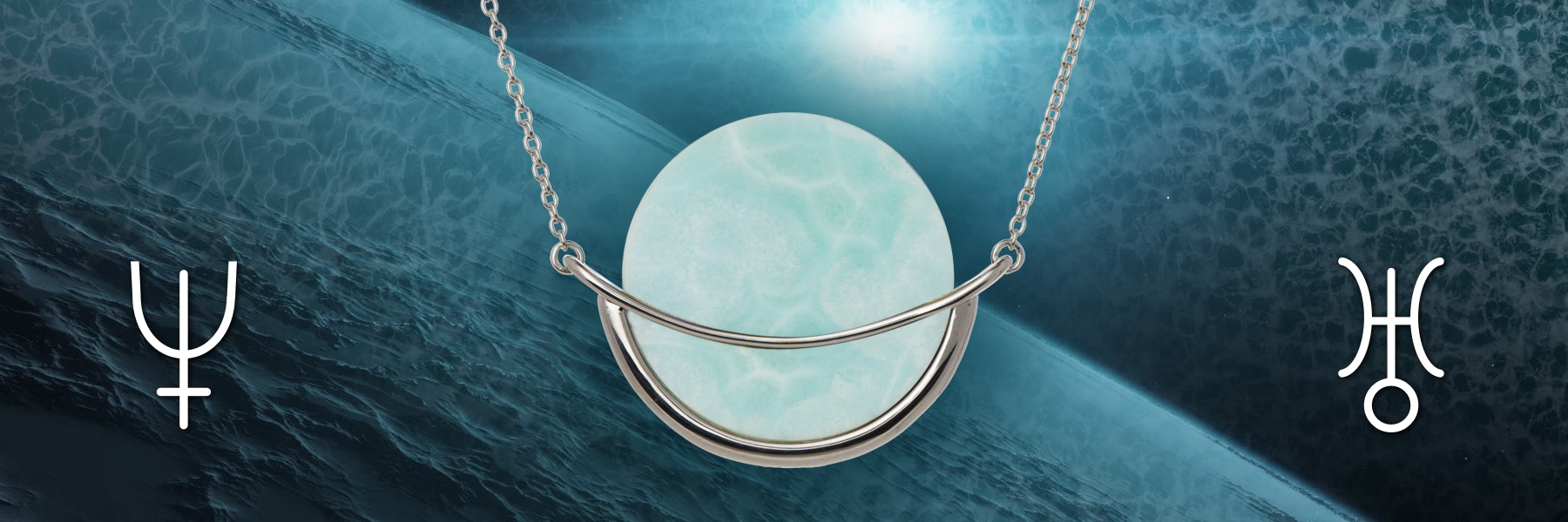 "Larimar gemstone ""Dancing Orbit"" silver necklace by Gems In Style jewellery"