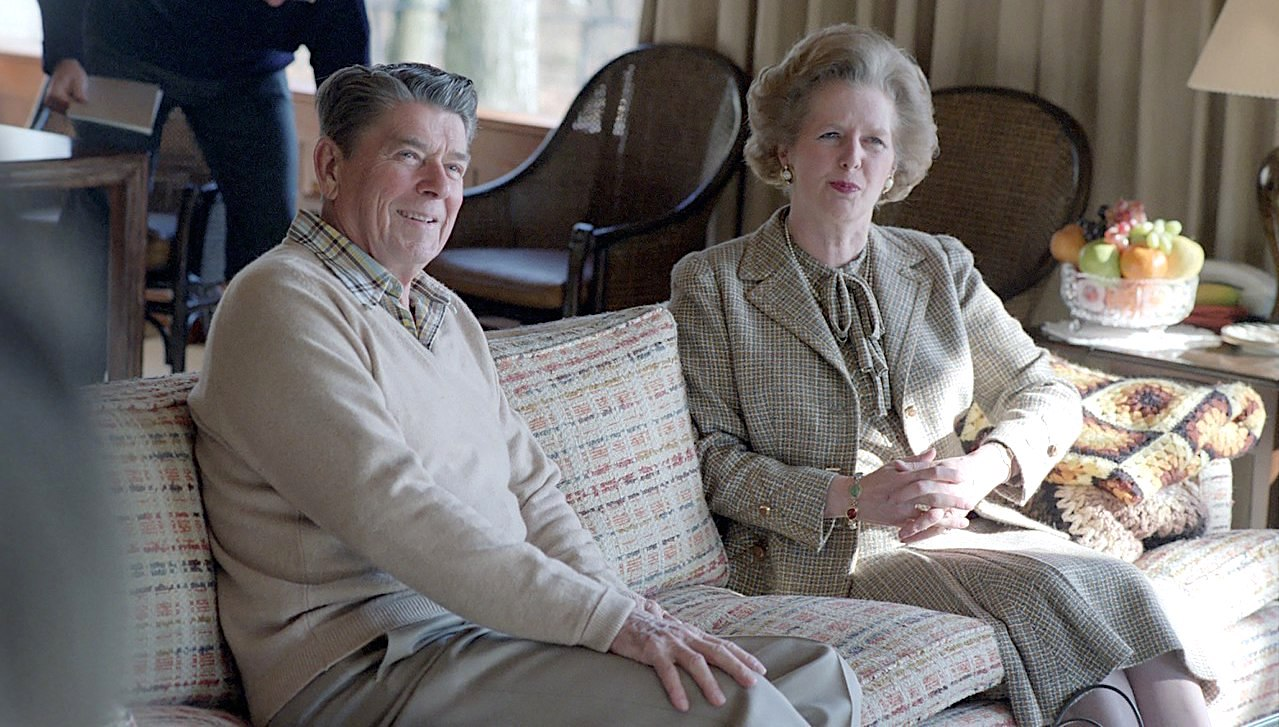 US President Ronald Reagan with British Prime Minister Margaret Thatcher at Camp David, 1984