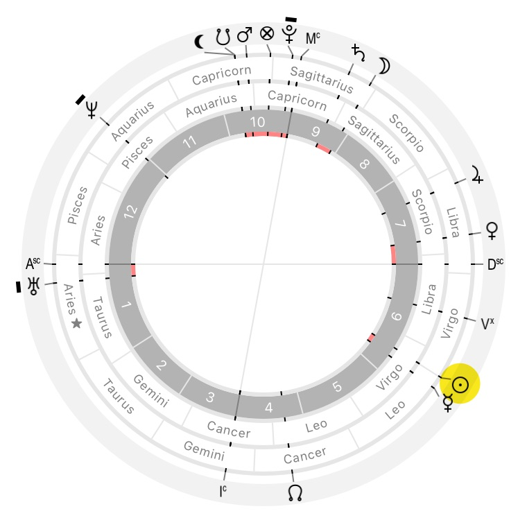 Astrological chart with Sun on the cusp of Virgo, created by Time Nomad app