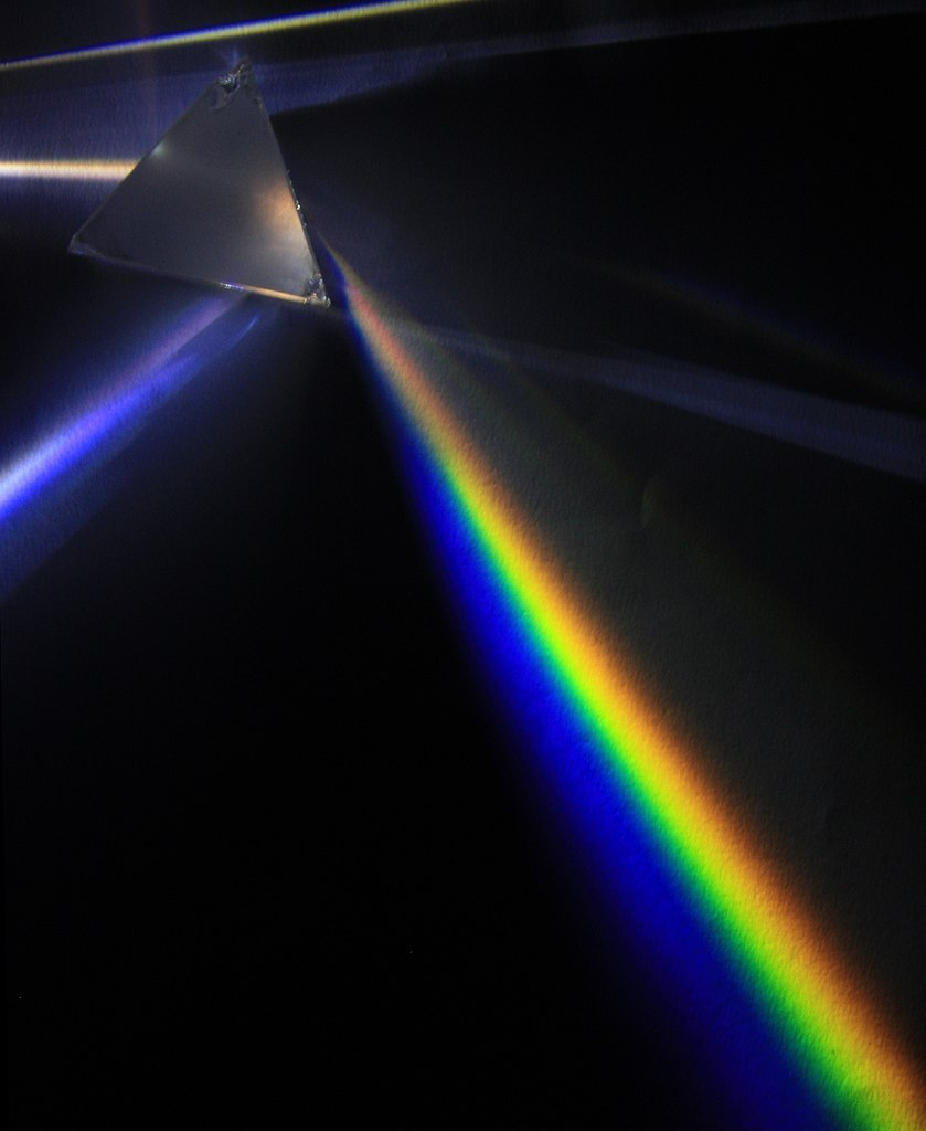 Light spectral dispersion with a glass prism made