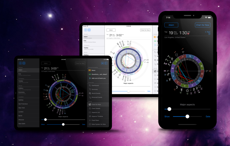 Astrological software on mobile phone and tablet
